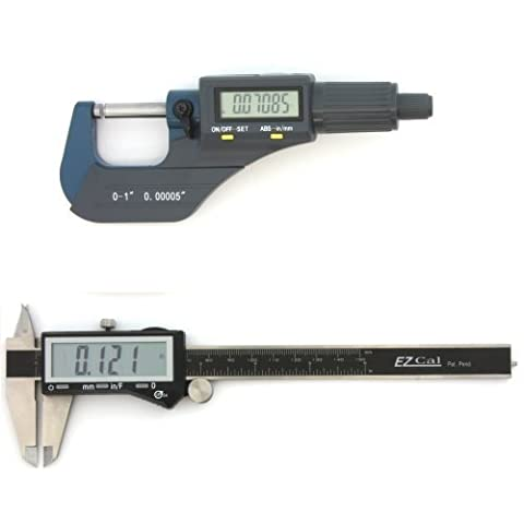 iGaging Digital Electronic Micrometer 0-1/0.00005 and Caliper 0-6/0.0005 Set Machinist Inspection Tool Kit by iGaging