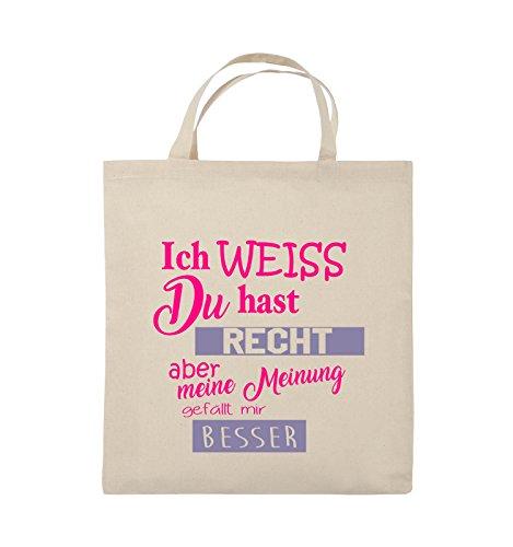 Comedy Bags - Ich weiss du hast Recht aber meine Meinung gefällt mir besser - Jutebeutel - kurze Henkel - 38x42cm - Farbe: Schwarz / Weiss-Rot Natural / Pink-Violet