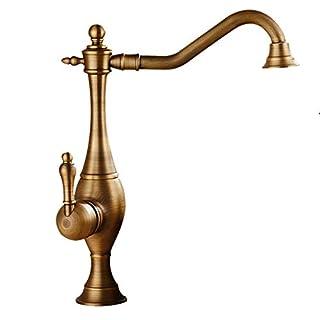 JRUIA Antik Messing Hohe Bad Wasserhahn Nostalgie Waschtischarmatur  360°Drehbar Aufsatz Waschbecken Armatur Einhebelmischer