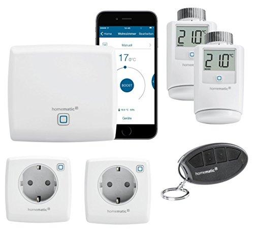 Homematic IP FUNK Smart Home System mit gratis Smartphone App und Alexa kompatibel. Beinhaltet: Zentrale, 2 Heizkörperthermostate, 2 Schaltsteckdosen, 1 Fernbedienung.