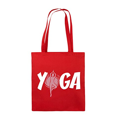 Comedy Bags - YOGA - FIGUR - Jutebeutel - lange Henkel - 38x42cm - Farbe: Schwarz / Weiss-Neongrün Rot / Rosa-Weiss