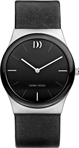 Danish Design Women's Quartz Watch with Black Dial Analogue Display and Black Leather Strap DZ120263