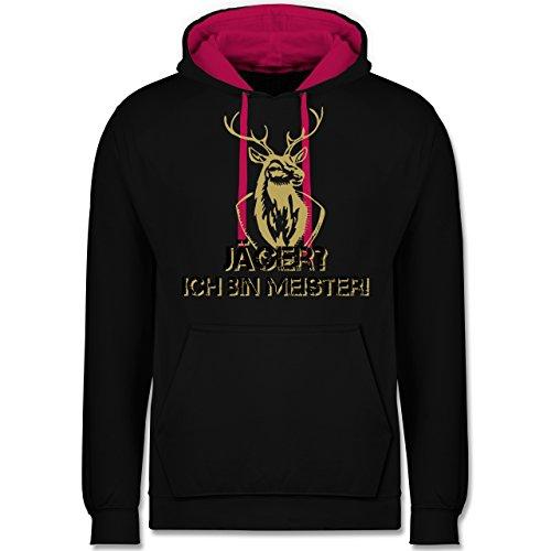 Après Ski - Jäger? Ich bin Meister! - Kontrast Hoodie Schwarz/Fuchsia