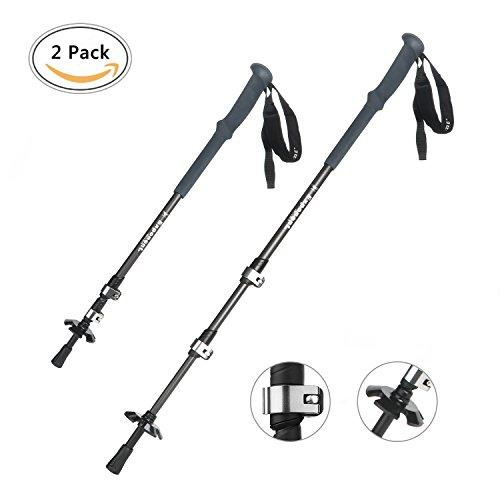 [2 Pack] Bastones Trekking, GVDV Bastones para Senderismo Esquí 65cm - 140cm 7075 Aleación de Aluminio, Anti-choque, Ligero y Telescopico para para Montañismo, Caminata, Excursiones Senderismo
