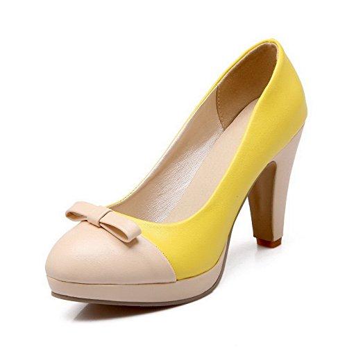 AllhqFashion Femme Pu Cuir à Talon Haut Rond Couleurs Mélangées Tire Chaussures Légeres Jaune