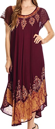 Sakkas Batik Hindi Cap Sleeve Caftan Dress / Cover Up Cioccolato / Oro