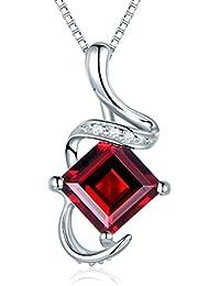 JiangXin Prinzessschliff Elegant Original Natürliche Rot Granat Damen 925 Sterling Silber Anhänger mit Kette Halskette