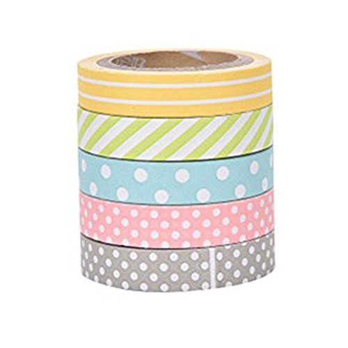Westeng 5 Rolls Candy Farben Bänder Tape Dekorative Masking Klebeband Regenbogen Sticky Papier Tape Scrapbooking DIY Handwerk