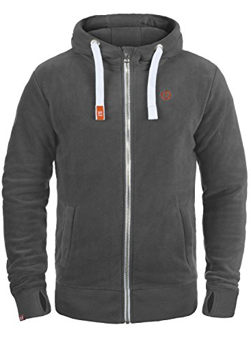 !Solid Loki Herren Fleecejacke Sweatjacke Jacke Mit Kapuze Und Daumenlöcher, Größe:XL, Farbe:Dark Grey (2890)