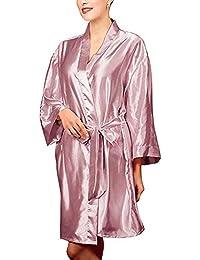 Forall-Ms Traje De Vestir De Kimono para Mujer, Bata De Seda Ropa De Dormir De Satén Vestidos Personalizados para…
