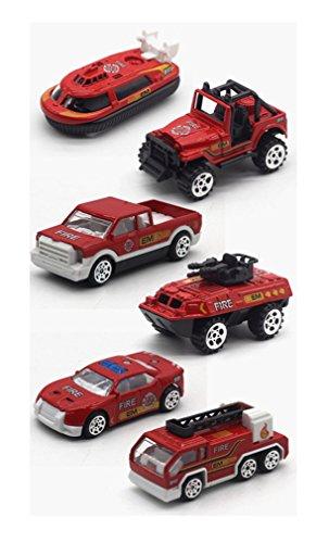 Alloy Diecast Feuerwehrauto Polizei Fahrzeugmodelle Spielzeug, Mini Toy Ladder Truck, Kleinlastwagen, Jeep Auto, Yacht, Tank, Limousine Auto 6 Stück Auto-Modell Maßstab 1:64 (Firefighting car)