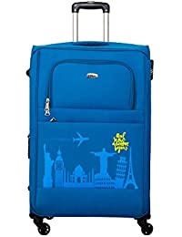 Timus Salsa Ocean Blue 75 Cm 4 Wheel Strolley Suitcase For Travel (Large Check In Luggage)