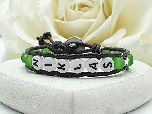 Grünes Kinderarmband, Armband Kinder, Armband mit Name, Armband Niklas, Armband optional mit Halbedelsteinen -
