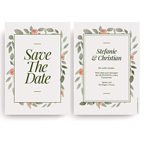 (10 x) Save the Date Karten zur Hochzeit - Einladungskarten Hochzeitseinladungen Blumen