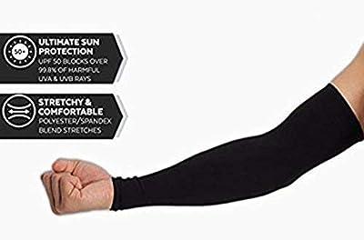 Tim Tim Unisex UV Protection Cooling Black Arm Sleeves (Black, Free Size)