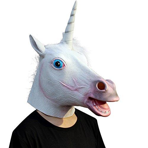 (CreepyParty Deluxe Neuheit-Halloween-Kostüm-Party-Latex-Tierkopf-Schablone Einhorn)
