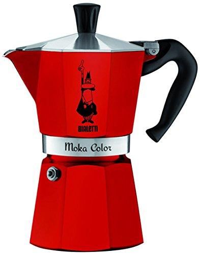 Bialetti 0009132 Cafetera Moka Express capacidad para 3 tazas aluminio, color rojo