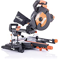 Evolution Power Tools - Scie à Onglets Coulissante Multi-Matériaux R255SMS+ avec le Pack Plus, 255 mm (230 V)