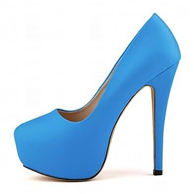 La Mode Escarpins femme talon haut plateforme Escarpins bout rond escarpins de danse- blanc/rose/noir/kaki/bleu/vert