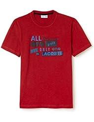 Lacoste Men's Men's Red T-Shirt With 3D Lettering 100% Cotton