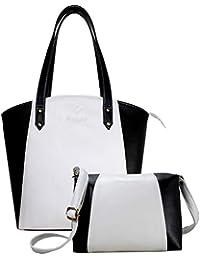 Fargo Motley PU Leather Women's & Girl's Shoulder Tote Handbag & Cross Body Side Sling Bag Combo (Black,White_FGO-081)