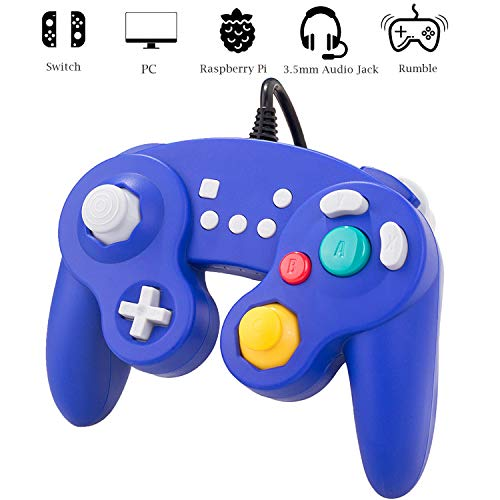Hizue Gamecube Controller Switch für Super Smash Bros, 3 m, mit Audio-Funktion/Rumble/Motion Control/Turbo (schwarz) Motion-control-plugin