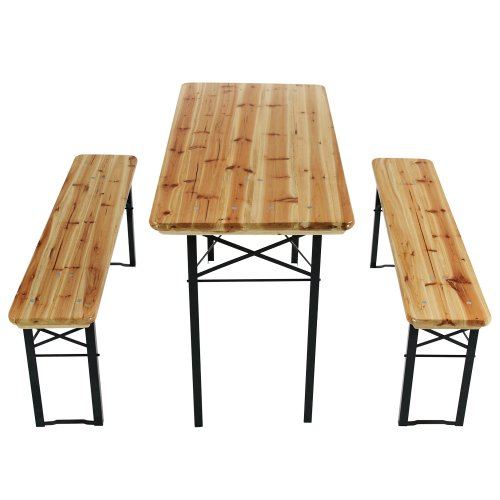 Trestle Table and Bench (3-pc Set) Wooden Folding Camping Outdoor Garden Furniture Table 117/56/77 cm and Bench 117/25/47 cm