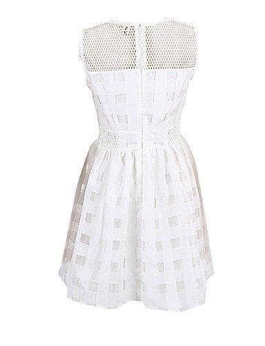 PU&PU Robe Aux femmes Ample Simple,Couleur Pleine Col Arrondi Au dessus du genou Polyester WHITE-M