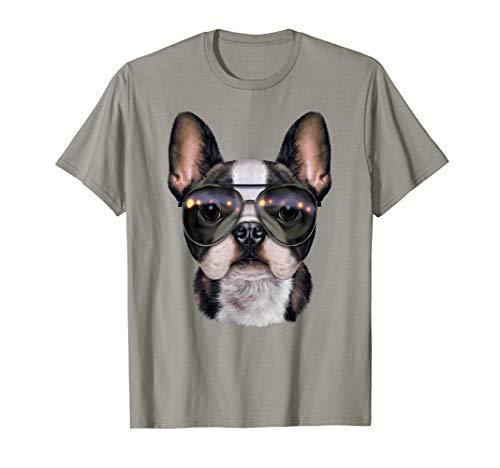Französische Bulldogge, Aviator Sonnenbrille Trägt - T-Shirt