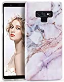 Galaxy Note 9 Case, Imikoko Note9 Marble Case Slim Anti-Scratch Shockproof Cover Glossy Finish Flexible Clear Transparent TPU Bumper Soft Phone Cases for Samsung Galaxy Note 9 (2018)(Pink Purple)