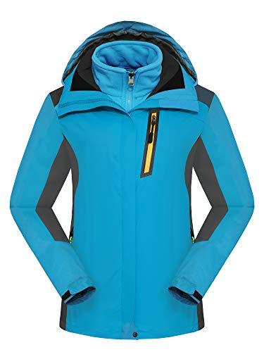 R RUNVEL Damen Winterjacke Wintermantel Skijacke Wasserdicht Jacke Winddicht Übergangsjacken Regenjacke Fleecejacke Softshelljacken, blau, 36