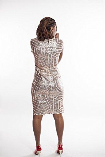 Femmes Sexy col V à manches courtes Paillettes Package Hip de Split Midi Clubwear Robe Jaune
