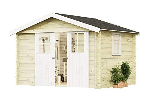 Alpholz Gartenhaus EVERE aus Fichten-Holz | Gartenhütte mit Dachpappe | Geräteschuppen naturbelassen ohne Farbbehandlung (330 x 270cm)