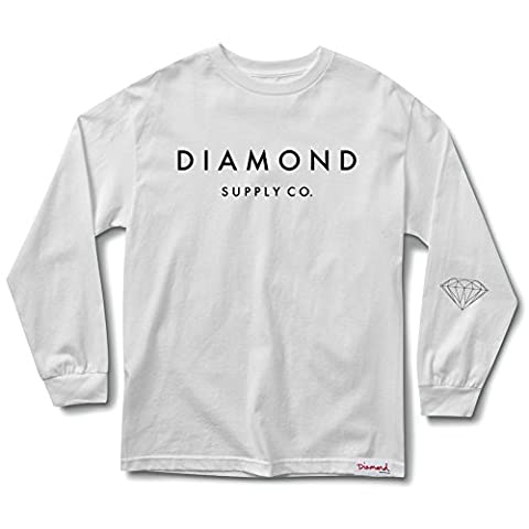 Diamond Supply Co. Men's Stone Cut LS T Shirt White