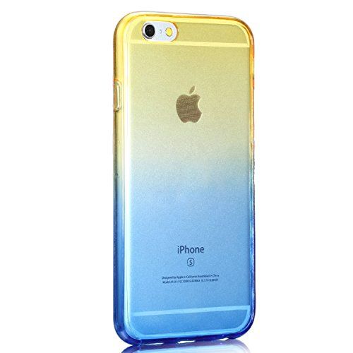 Dual-Schutz Hülle für Apple iPhone 6s,iphone 6 360 Grad Protective Case Bumper,Ekakashop Kreativ Rose Gradient Gelb Design Ultra dünn Slim 360 Grad Full Touch Screen Hülle TPU Silikon Defender Transpa Gelb Gradient Blau