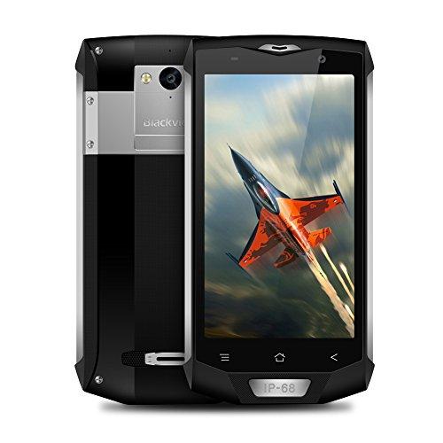 Blackview BV8000Pro Outdoor Handy, 6GB RAM + 64GB ROM (TF256 GB), 5,0 Zoll Full HD Smartphone Ohne Vertrag, 4180mAh Akku Mit 8MP + 16MP Kamera, 4G Dual SIM IP68 Robustes Handy, NFC, GPS (Silber)