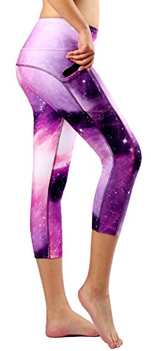 Munvot Tailored Geschenke Schön Galaxy Printed Tummy Control Yoga Pants Sport Leggings Blickdichte Leggings Training Tights Hohe Taille Strumpfhose (M, Amethyst 3/4) (Yoga Leggings Strumpfhosen)