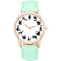 JSDDE Fun Animal Series Twelve Cute Cats Scale Rose Golden Case PU Leather Strap Womens Girls Quartz Wrist Watch,Green