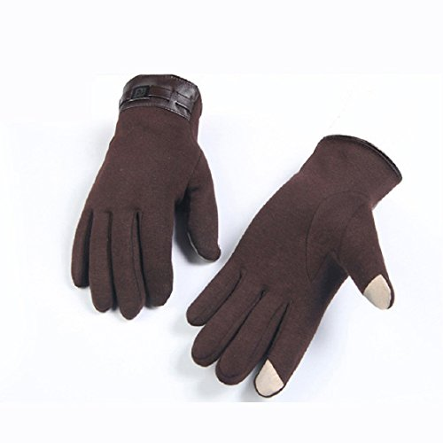 Malloom® Hommes d'hiver pleine doigts des gants tactile Smartphone en cachemire d'écran mitaines Marron