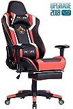 Ficmax Gaming Stuhl Ergonomische Kunstleder Bürostühle für Computer, Racing Sessel mit Massage Lendenkissen. Esports Schreibtischstuh mit Fußstütze. (schwarz&Rod)