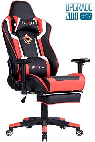 Ficmax Talla Grande Silla de Oficina de Escritorio computadora ergonomica Racing Gaming con Masaje Soporte Lumbar y reposapiés Ajustable, Negro/Rojo