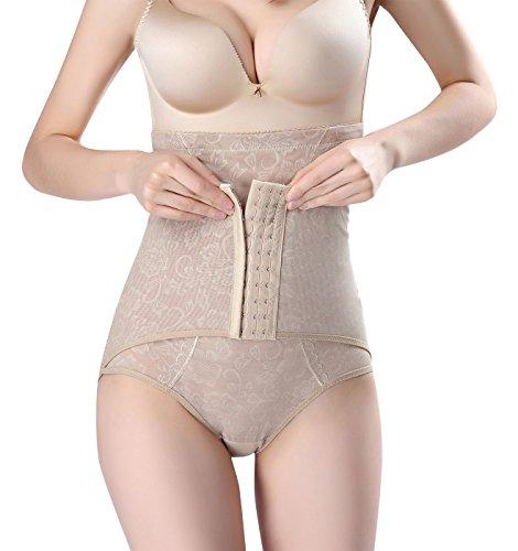 Feoya intimo modellante da donna contenitiva a vita alta shapewear mutanda pancera elastica pancia piatta snellente push up glutei mutande - beige - taglia 46-48
