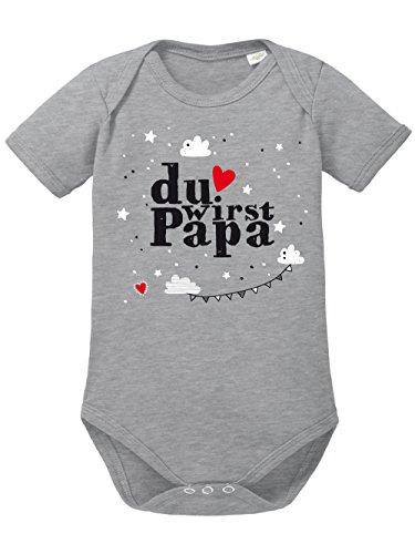 clothinx Baby Body Unisex Geburt Du wirst Papa Sports Grey/Weiß Größe 50-56