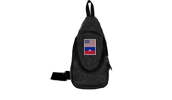 Adjustable Shoulder Strap Messenger Bag Haiti Flag Unisex Backpack Shoulder Crossbody Bag