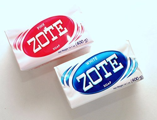Zote Laundry Bar Soap Variety Pack - White and Pink - 2 Bars by Zote