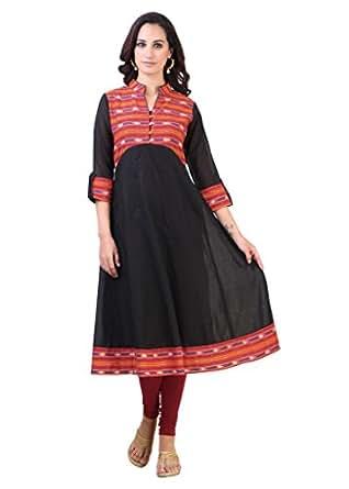 Libas Women Cotton Anarkali Kurta (1159Xxl _Black _Xx-Large)