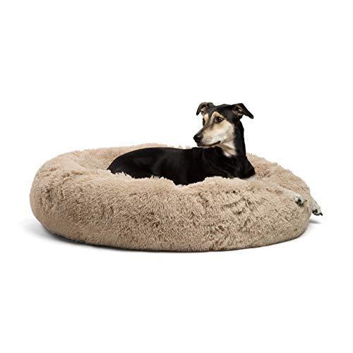 Rundes Donut-Kissen für Katzen und Hunde, orthopädische Entlastung, selbstwärmender und gemütlicher Schlaf, Wasserdichte Unterseite (Frost, Größe L) -