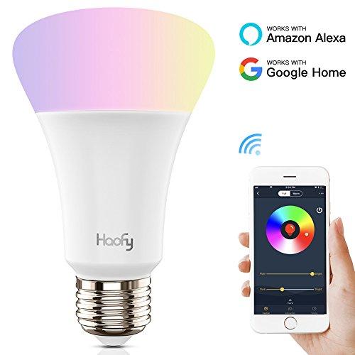 Bombilla wifi, Haofy E27 Bombilla LED inteligente 5W Luz nocturna regulable inalámbrica RGB Kit de iluminación doméstica multicolor con luz diurna APP controlado para iOS / Android con Amazon Echo