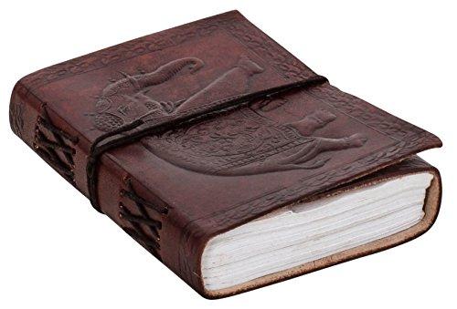"Notizbuch Gusti Leder \""Dehlia\"" DIN A6   Echtes Leder   Handgeschöpftes Papier   Nachfüllbare Seiten   Recyclebar   Traditionelles Lederaccessoire Blanko - Motiv - Elefant - P52"