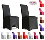 Covering All Occasions Stretch Fit Dining Chair Covers | Arched Fronted | White Black Ivory Beige (1, Black)